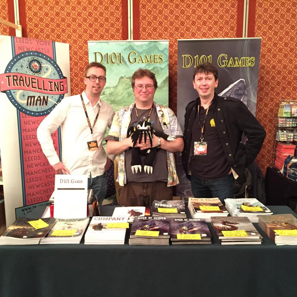 D101 @UK Games Expo 2015, L-R Guy Milner , Me n Kevin Kthulhu, and Graham Spearing (Wordplay Games)